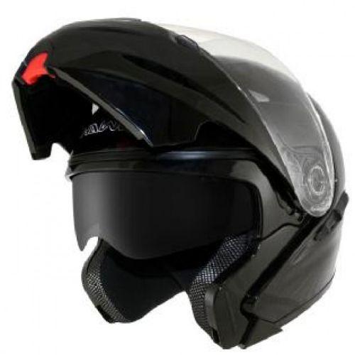 HAWK Glossy-Black Dual-Visor Motorcycle Helmet
