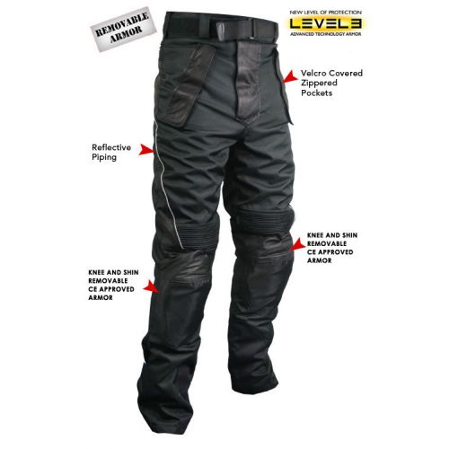 Xelement Men's Tri-Tex and Leather Motorcycle Racing Pants with Level-3 Advanced Armor