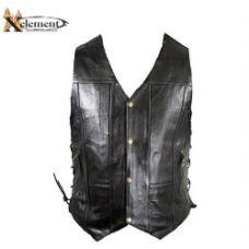 Mens 10 Pocket Premium Black Leather Vest