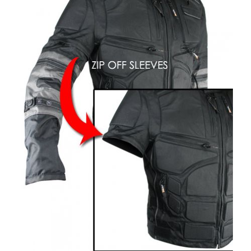 Xelement Mens Black and Gray Cordura Level-3 Armored Jacket with Removable Arm Sleeves