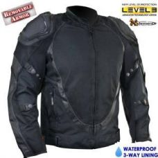 Men's Black Motorcycle Jacket with Breathable 3...