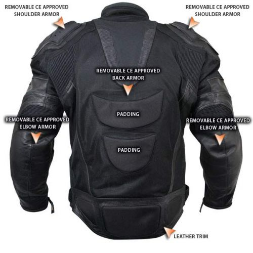 Mens Black Motorcycle Jacket with Breathable 3 Way Lining and Level 3 Armor