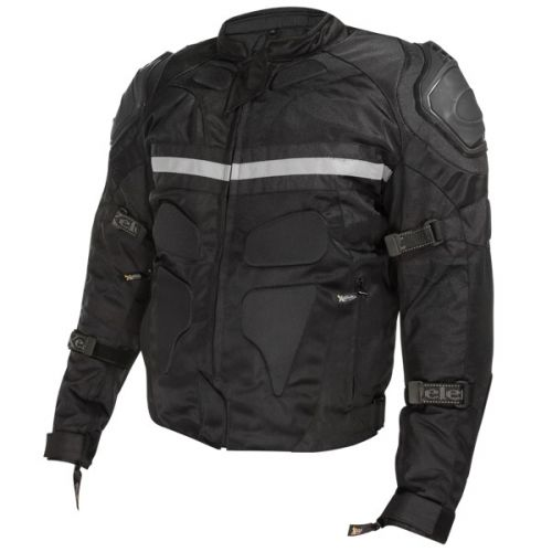 Xelement CF-751 Mens Black Motorcycle Breathable Level-3 Armored Tri-Tex Jacket