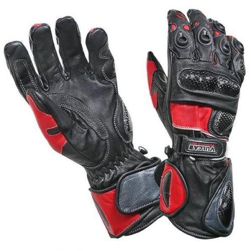 Vulcan Men's Black/Red NF-38155 Motorcycle Armored Gauntlet Gloves