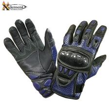 Xelement Black and Blue Leather Motorcycle Racing Gloves