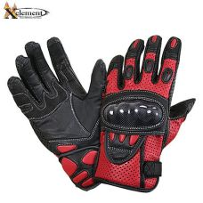 Xelement Black and Red Leather Motorcycle Racing Gloves