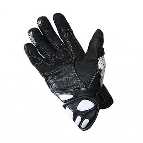 Xelement Black and White Leather Motorcycle Racing Gloves