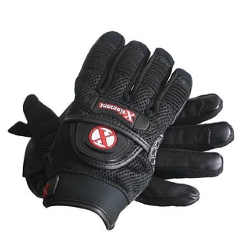 Xelement Cool Rider Black Mesh and Leather Motorcycle Riding Gloves