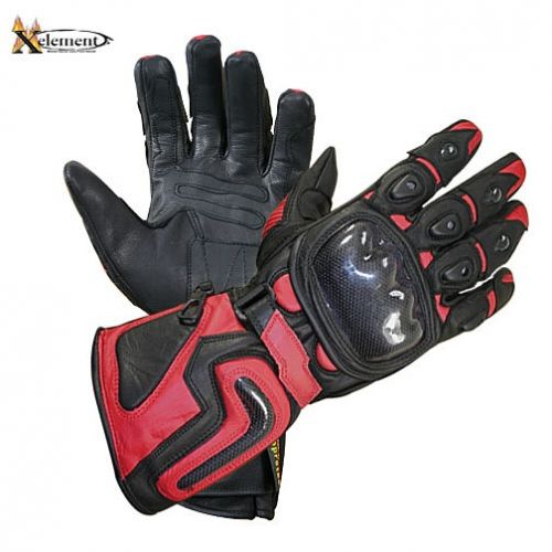 Xelement Motorcycle Red Carbon Gloves