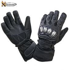 Xelement UNISEX Black Leather and Nylon Gauntlet Motorcycle Racing Gloves